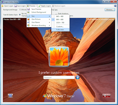 Portable Windows 7 Logon Screen Editor