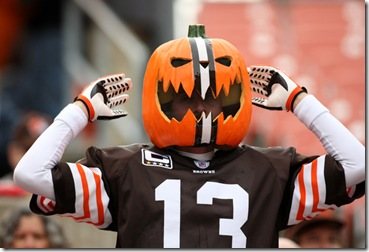 25 October 2009: Cleveland Browns fan dressed with a pumpkin on his head during the Browns game against the Green Bay Packers in Cleveland, OH.