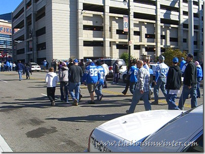 Lions fans walking to Ford Field.