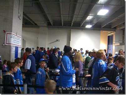 Line for the kids' touchdown Fun Run at Ford Field.