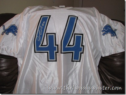 The Lions in Winter commenter Matt's autographed Jahvid Best away Detroit Lions jersey.