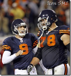 Chicago Bears PK, Robbie Gould celebrates a Monday Night Football game-winning kick.