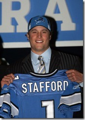 25 April 2009: A happy Matthew Stafford holds his jersey after being drafted first overall by the Detroit Lions during the 2009 NFL Draft at Radio City Music Hall in New York, NY.  