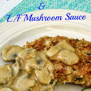 LEMON CHICKEN SCHNITZEL with LOW-FAT MUSHROOM SAUCE