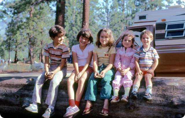 all five harrington kids camping