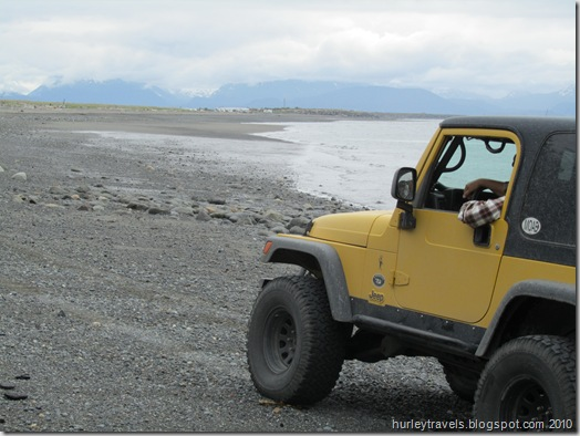 Jerry in Ole Yeller on Homer Spit beach.