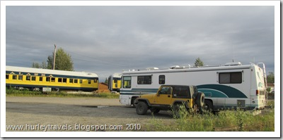Ferd, Ole Yeller, parked in Nenana, next to the Tanana River and near the Alaska Railroad.  We watched and listened to the trains as they came and went both in front of us and over the bridge just down the river from our spot.