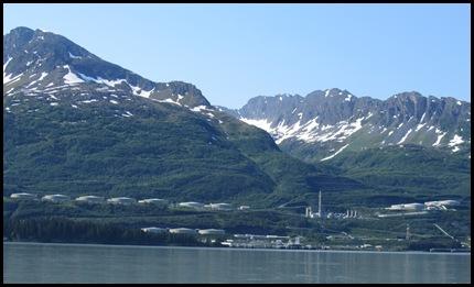 Oil storage tanks at Alyeska Terminal in Valdez, AK.