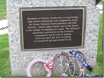 This is a part of the memorial in the center ot the town of Fairbanks.