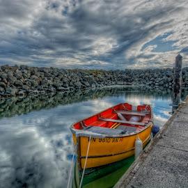Docked for the Night by Bill Camarota - Transportation Boats ( clouds, row boat, marina, boat, dock )