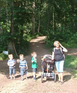 Nanny on trail w boys 2