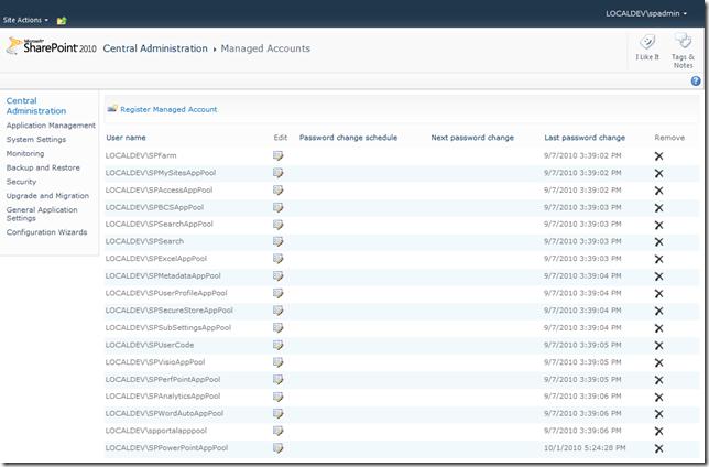Configure Managed Accounts