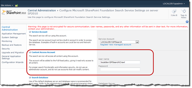 SharePoint Foundation Search Settings