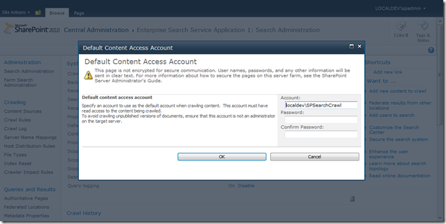 Default content access account