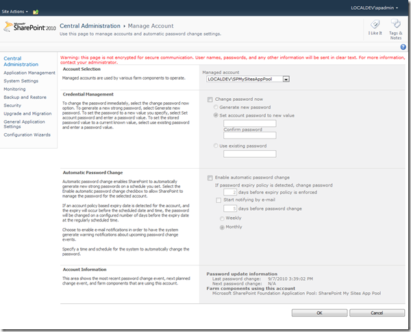 Configure Managed Account