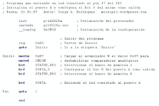 led, ejemplo de código en ensamblador