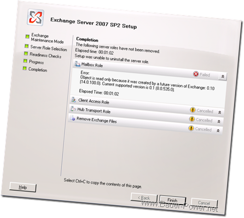 Exchange Server 2007 Uninstall Failed