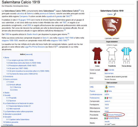 wikipedia salernitana pellegrini