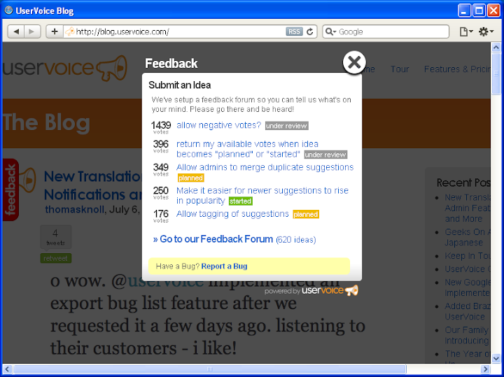 A screen shot of the Feedback box