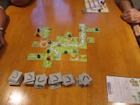The Carcassonne tiles early in the game