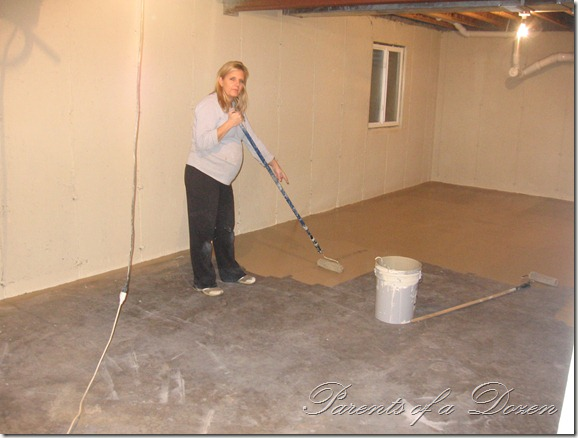 Parents of a dozen painting an unfinished basement - Unfinished basement floor ideas ...