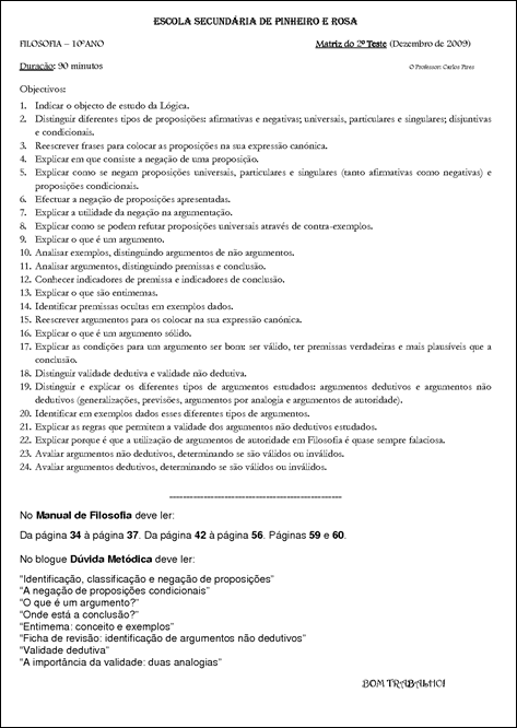 Matriz 2º teste Filosofia 10º C09