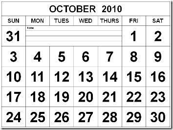 O1 Free October 2010 Calendar Black and White