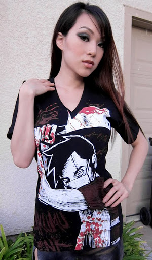 vampy, vampybitme, asian model, chainsaw, butcher, horror shirt, halloween, horror cosplay, sexy cosplay