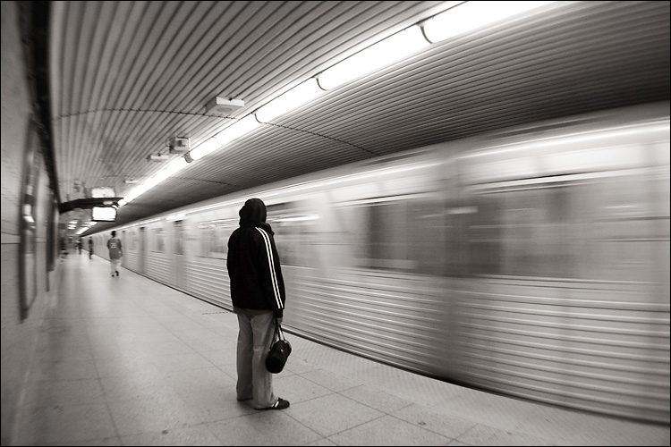 Girl waiting for the subway