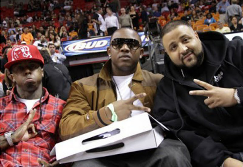 Lil Wayne, Mack Maine & Dj Khaled no jogo do Miami heat vs. Indiana Pacers