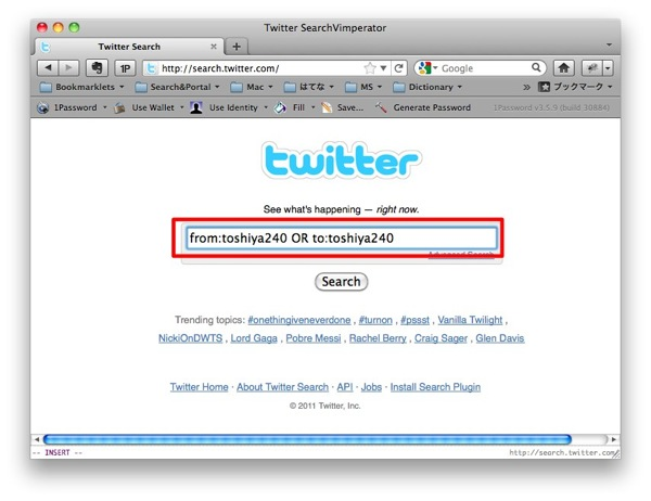 Twitter SearchVimperator