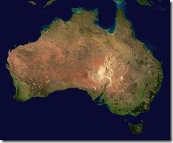 Foto de satélite da Austrália. Fonte: Wikipedia