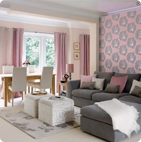 Decor to adore pink and gray for a special day for Gray and pink living room ideas