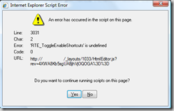 Internet Explorer Script Error