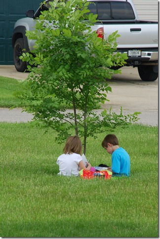 Sean and Sierra reading in the circle 021