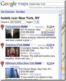 planos e preços de Hotéis no Google Maps.