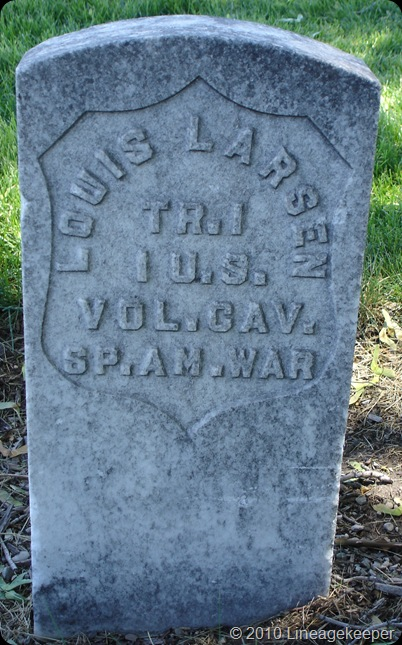 Larsen Louis headstone Sp Am War Vet
