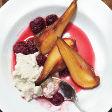 Roasted Pears with Blackberries, Ricotta, and Lavender Sugar