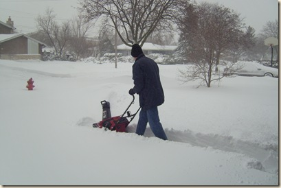daddy clearing the driveway