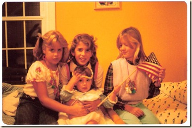 erica, sara, heather and wendy on wendy's bed