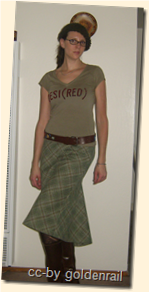 front green wool skirt
