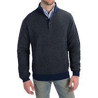 Toscano Button Mock Neck Sweater - Merino Wool-Acrylic (For Men)