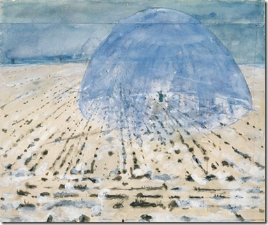 "Everyone Stands Under His Own Dome of Heaven -- Both the title of this work and the image of the dome with a lone figure inside refer to Kiefer's view that there is no single system or belief, such as Marxism or Christianity, that is appropriate for all people. ""Each man has his own dome, his own perceptions, his own theories,"" Kiefer has noted."