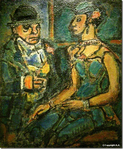 Circus Manager with a Circus Girl, George Rouault, 1941. Oil on canvas, Jacques and Natasha Gelman Collection (1998), Metropolitan Museum of Art, European Modern Paintings.