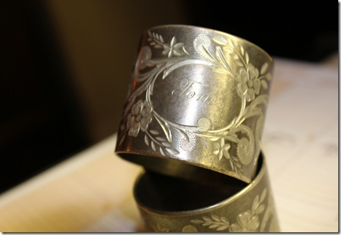 napkin rings from telluride showing tom