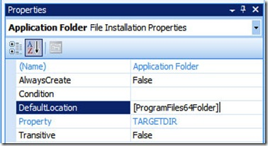 x64 setup project application folder DefaultLocation