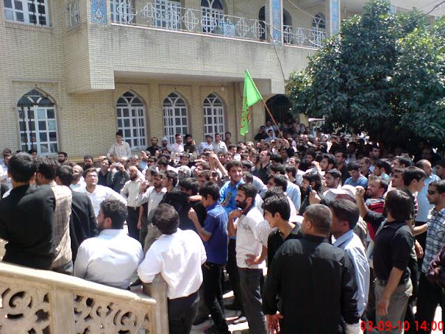 تحصن مردم روزه دار در حیاط مسجد قبا