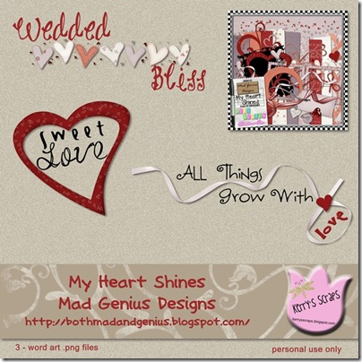 My Heart Shines Word Art Preview