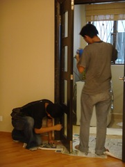 Varnishing the new door