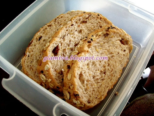 healthy day with soursop and wholemeal bread with nuts and raisins for lunch
